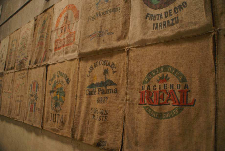 Coffee sacks on display, Costa Rica