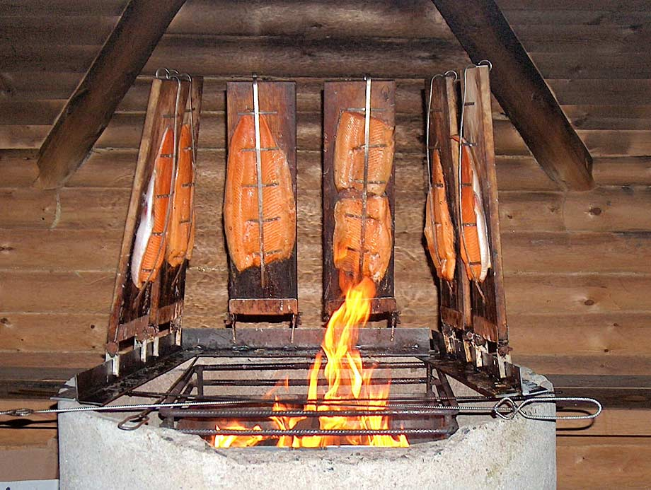Locally caught salmon being smoked in Finland