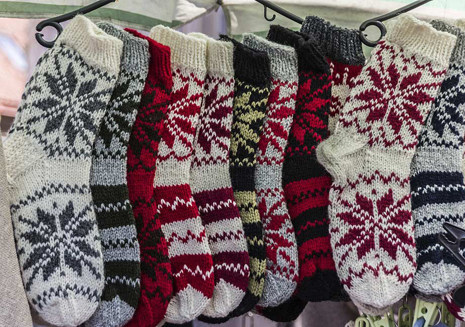 Scandinavian socks on sale at the market
