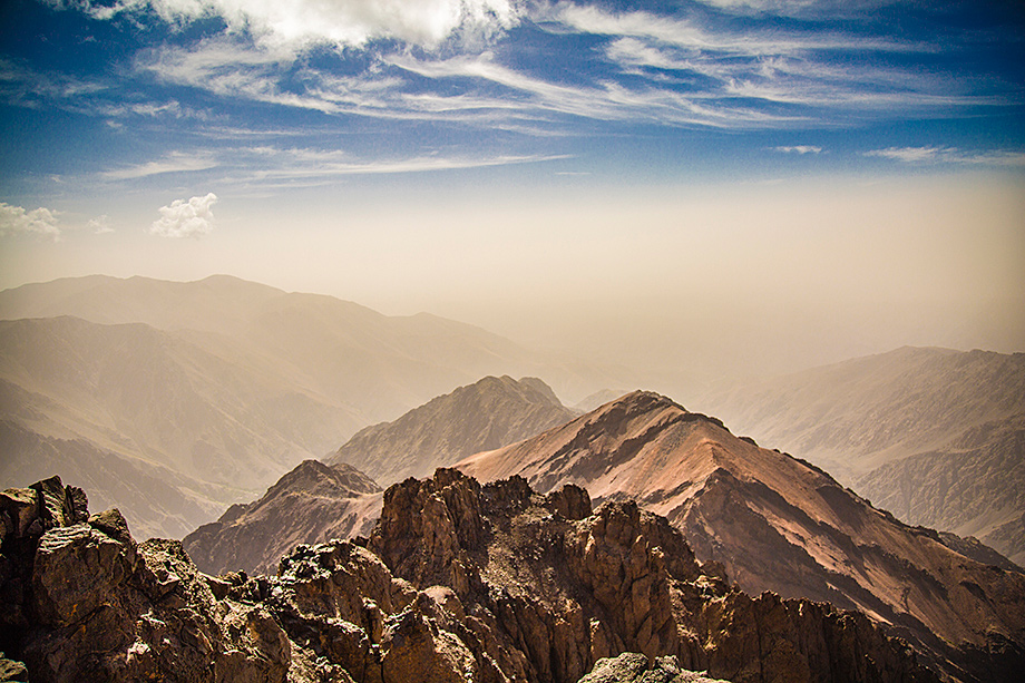 the view from the summit of Toubkal