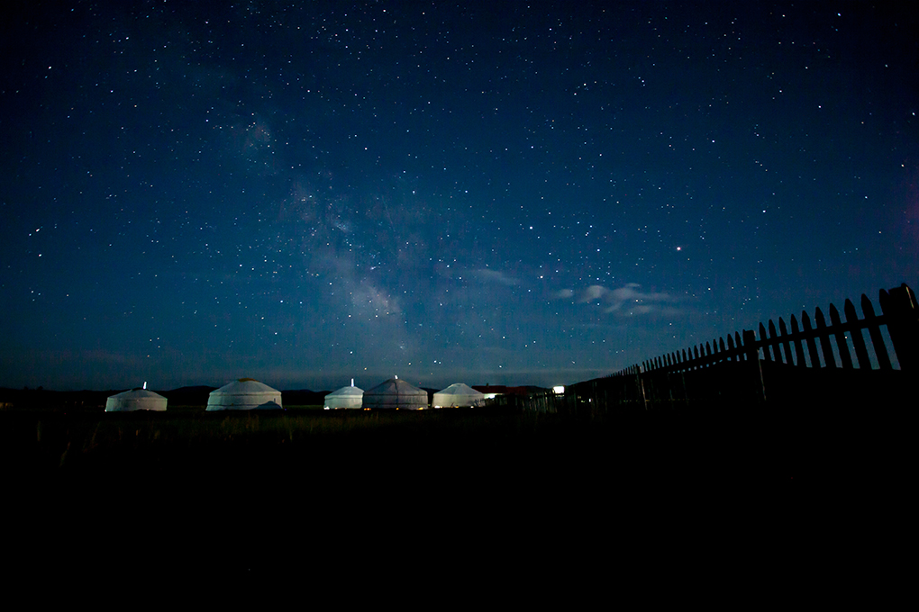 Starry sky over camp in Mongolia