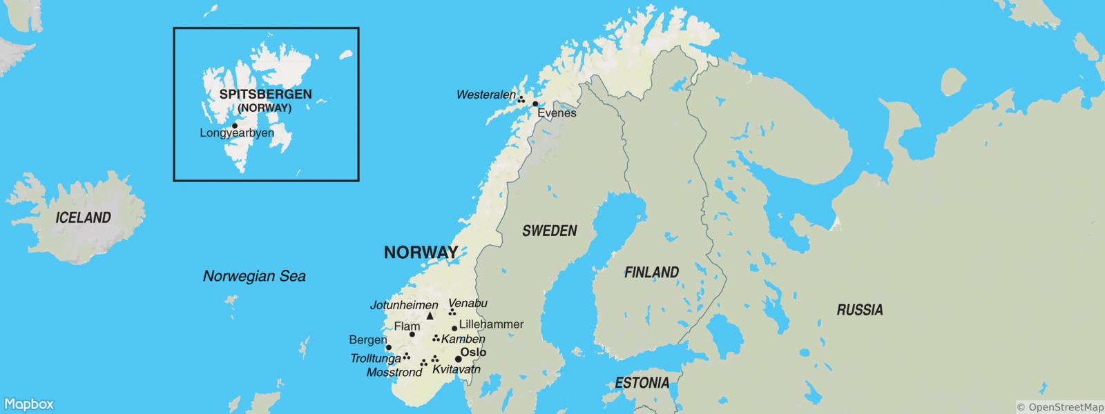 Norway with Spitsbergen map