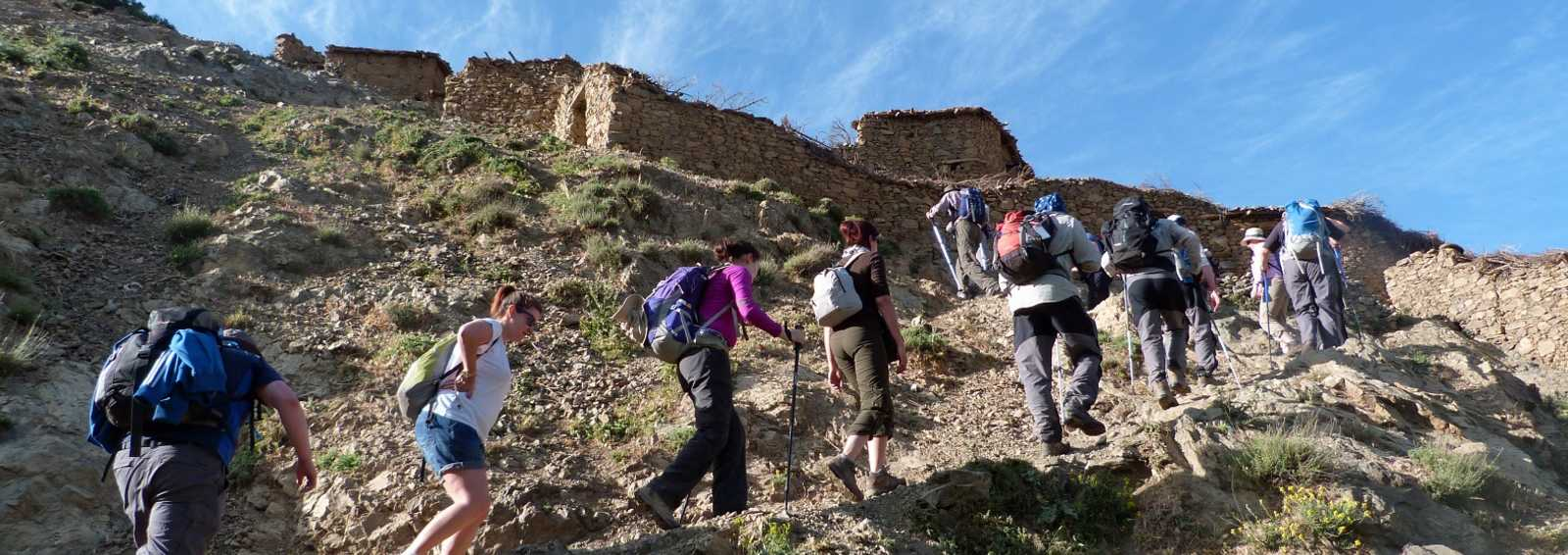 Group approaching Mt Toubkal summit, Morocco