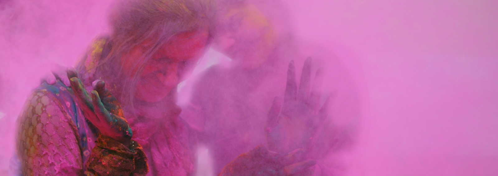 Girls playing at the Holi festival, India