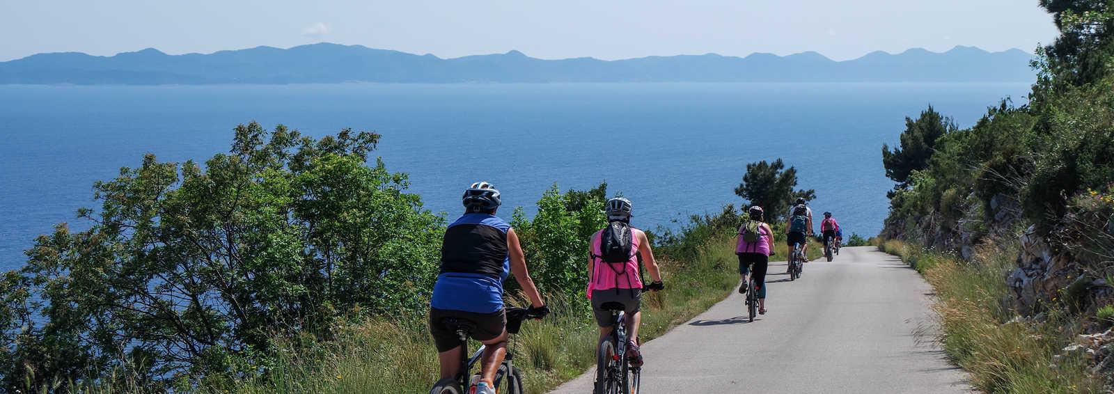 Cycling towards Zuljana, Croatia
