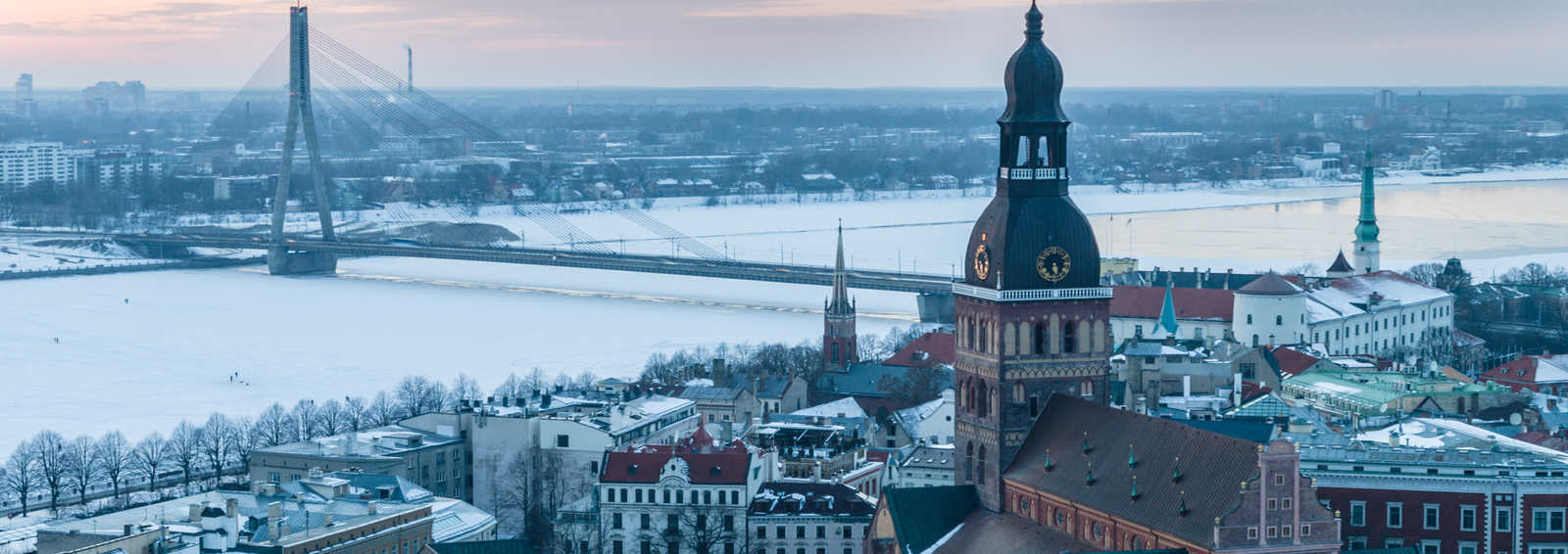Old and modern Riga winter from viewing platform after sunset, Latvia