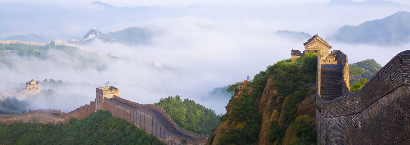 Great wall of China in fog, China