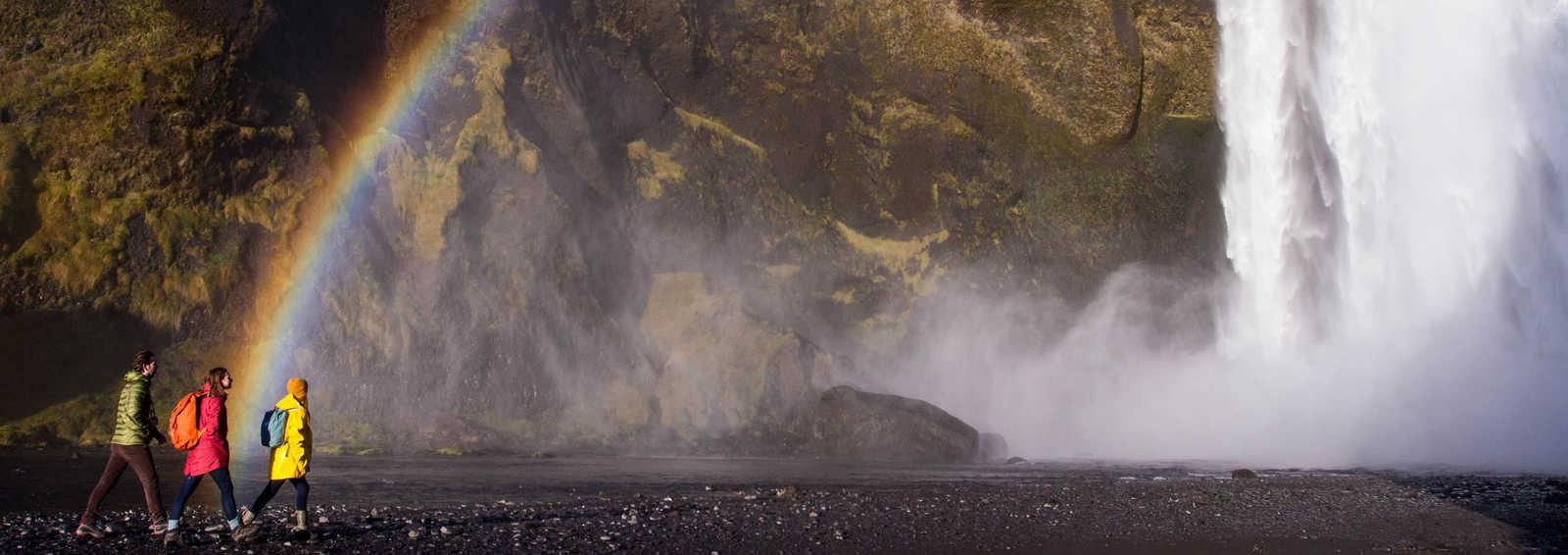 Trekkers at Skogafoss, Iceland
