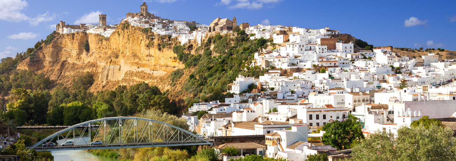 White town built on a rock along Guadalete river, in the province of Cadiz, Spain