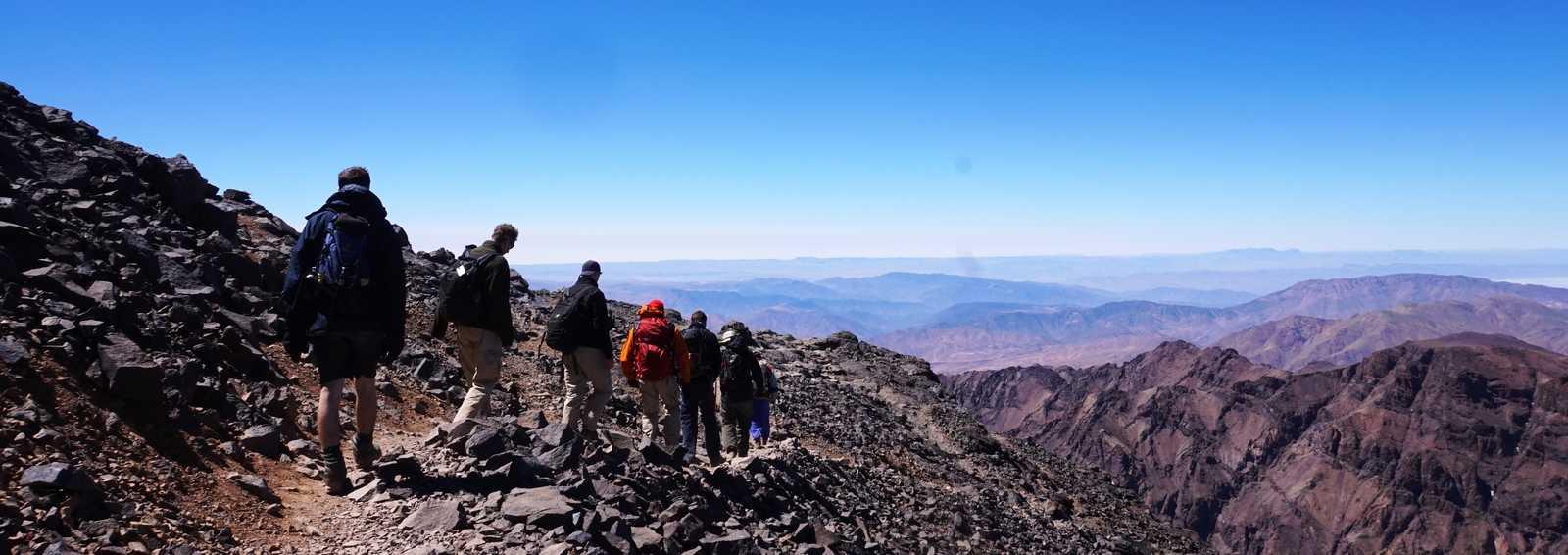 Trekkers on Toubkal