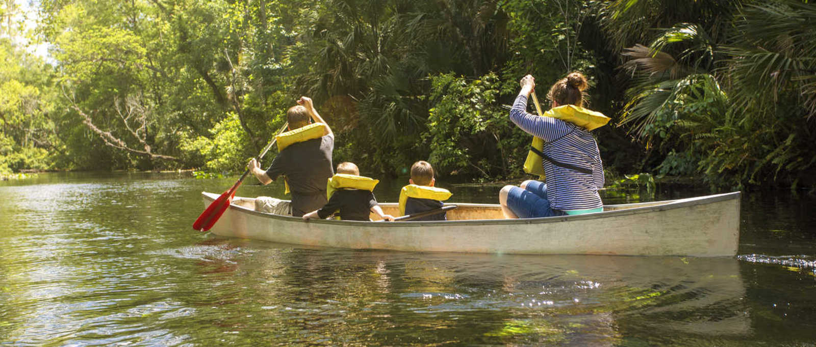 Family canoe ride down a beautiful tropical river