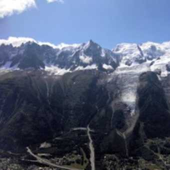 Mont Blanc Massif from across Chamonix valley