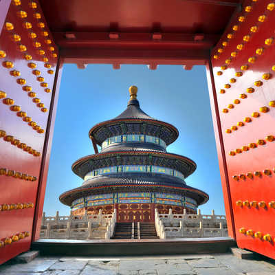 Temple behind red gate door, China