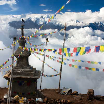View from Langtang stupa and prayer flags