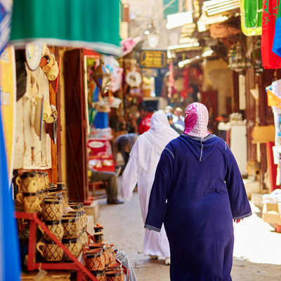 Women shopping in the Souk, Fez, Morocco