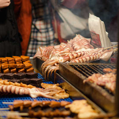 Meat skewers on a market stall
