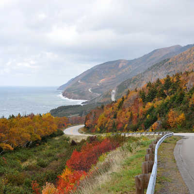 The Cabot Trail in peak fall colours.