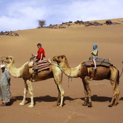 Family trek into the desert