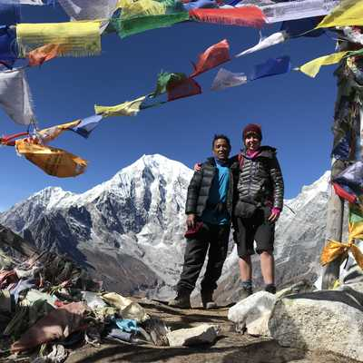 View of Langtang Lirung from the summit of Tsergo Ri, Nepal