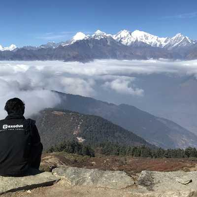 Panoramic view of the Annapurna and Manaslu Himals from the trail from Laurebenayak to Gosainkund, Nepal