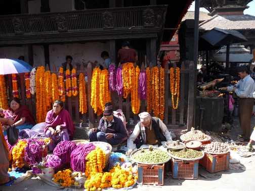 Selling flowers for Diwali, Kathmandu