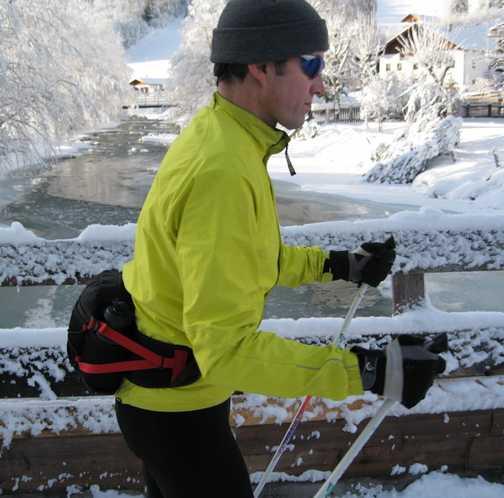 Day 1 Gschnitz valley Allan skiing over bridge