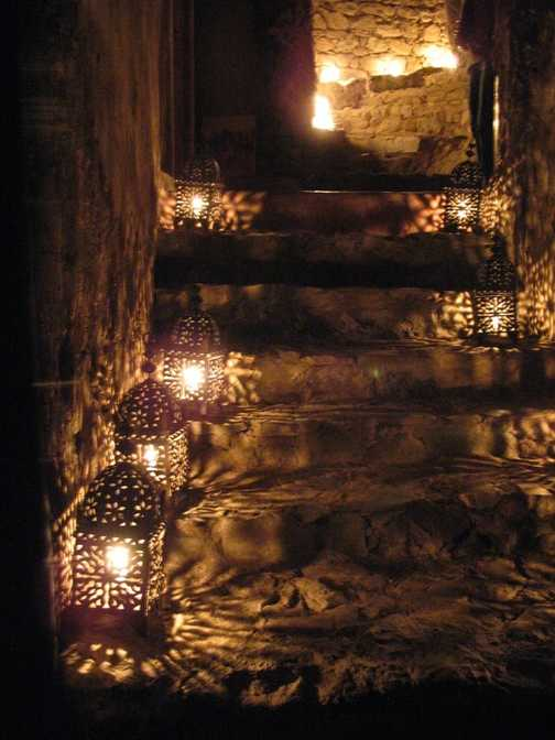 Candles lighting the way in the mountains