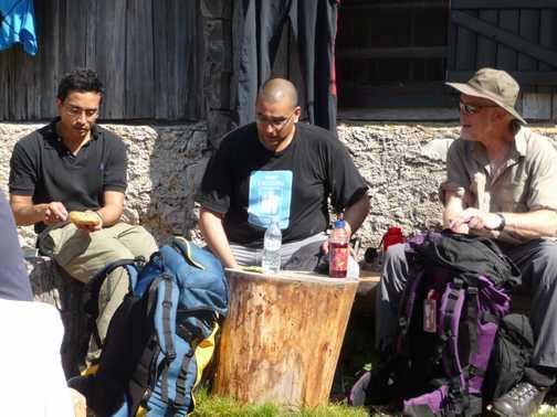 Day 2 - Waz, Mal and Geoff enjoying a break at Dom Visevnik