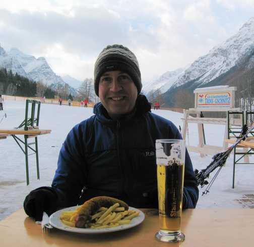 Last morning Currywurst & beer at Trins & Gscnitz ski & snowboarding centre