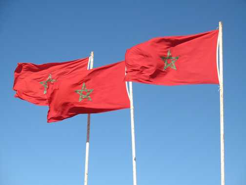 Three flags on the road to Essaouira